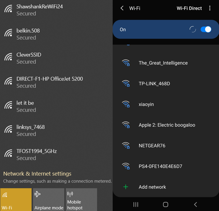 Graphic showing possible Wi-Fi connections on Windows and Android